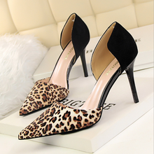 X61989A Sexy Leopard pattern pointed toe high heels Fashion patchwork club Party shoes