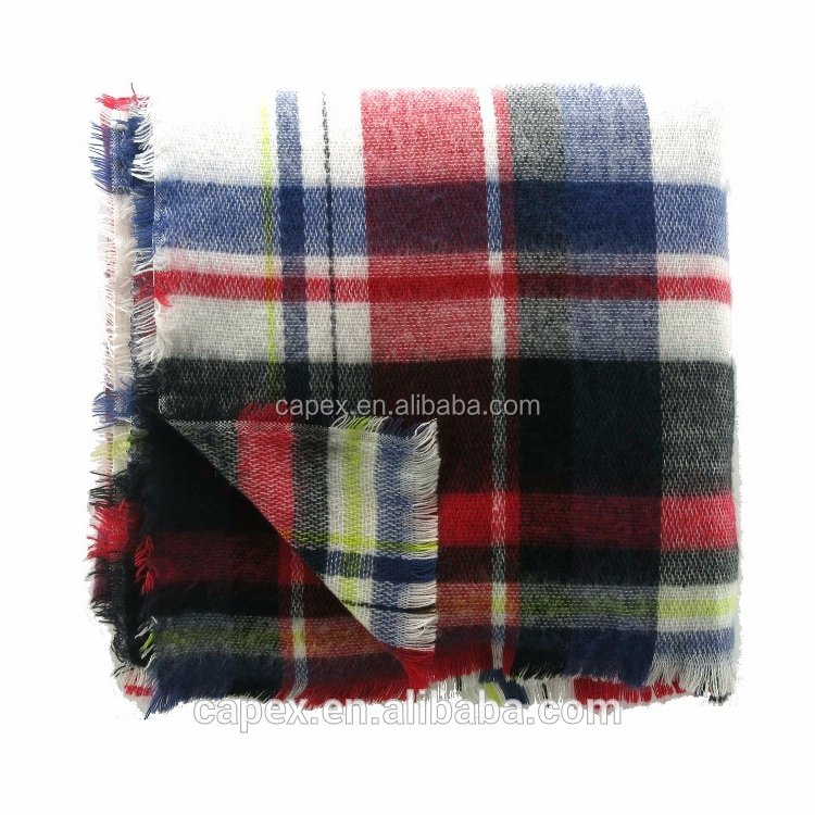 Whole Winter Women Checked Acrylic Blanket Shawl