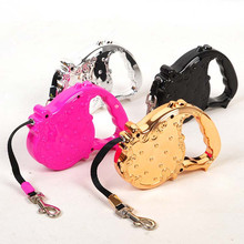 Diamond Studded Best Retractable Stretch Dog Leashes Tied Dog Collar for Samll Pet Puppy