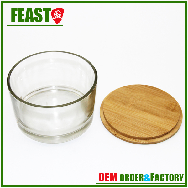700ml bamboo lid glass Candle jar hot selling candle cup