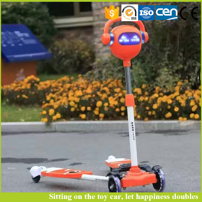 Wholesale light and music function four wheels kids plastic scooter for sale
