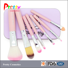 Hot sell professional 7pcs pink wood handle synthetic hair hello kitty makeup brushes