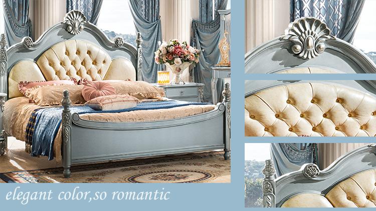 meest populaire antieke luxe kingsize hout slaapkamer meubels set