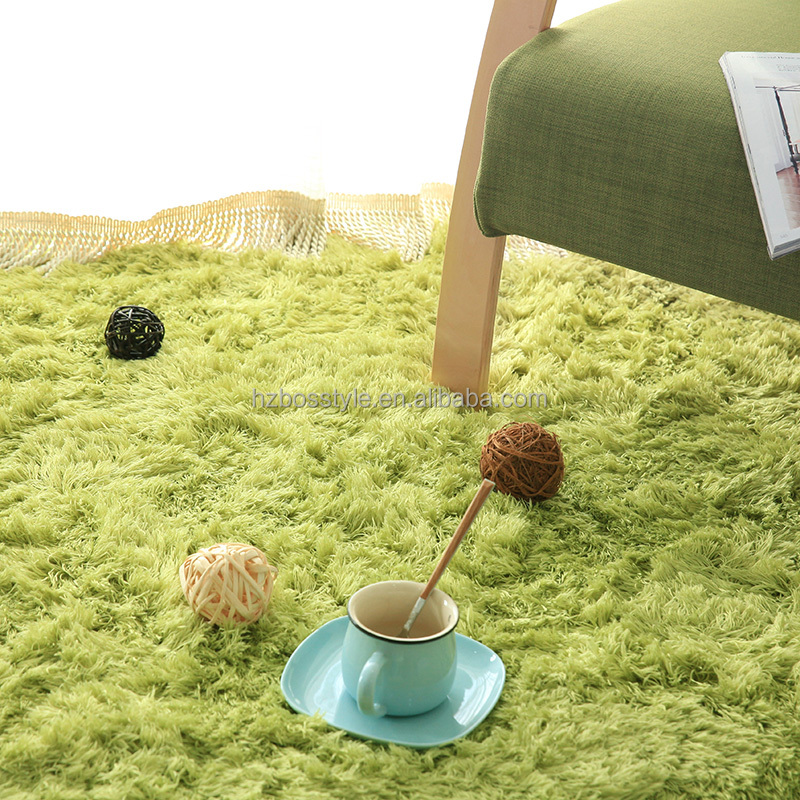 2016 cheap wholesales best prices green large microfiber polyester shaggy plush area carpet rugs with anti slip backing for home