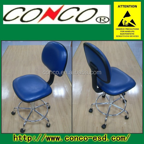 Black/Blue ESD PU Leather AntiStatic footrest ring Chair
