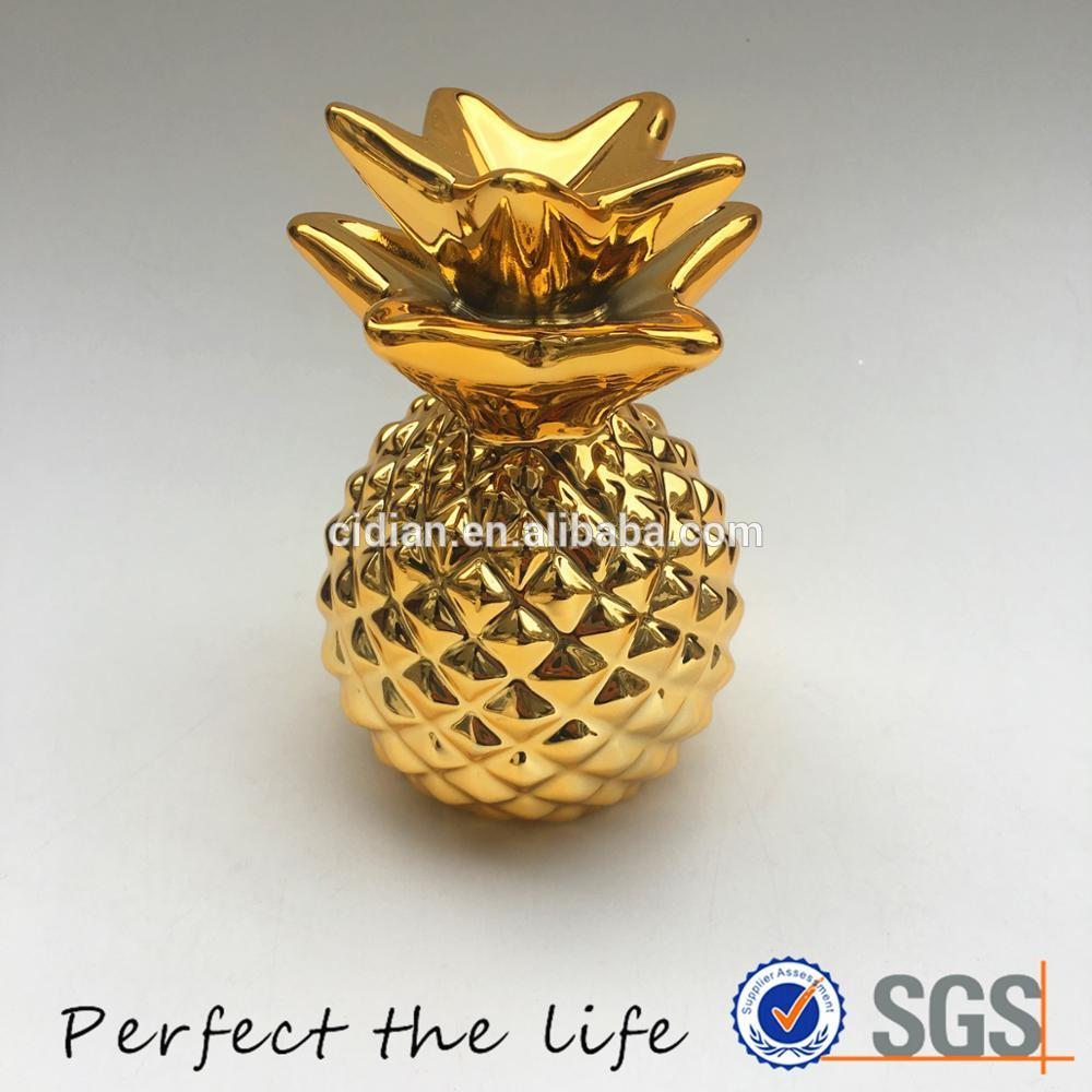 Small ceramic pineapple jar for home decor