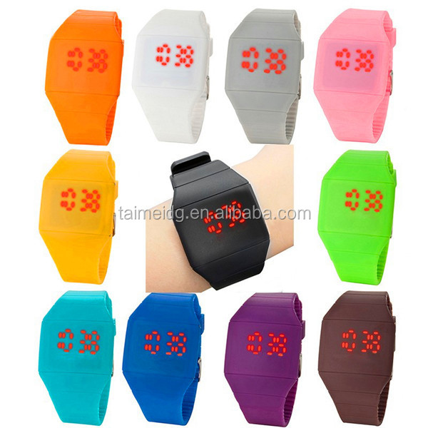 2015 Candy color custom touch screen sport silicone led watch for sale, cheap watch, boy watch