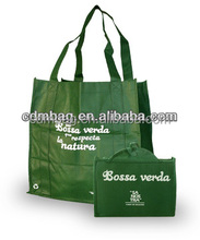 promotional nonwoven shopping drawstring green foldable bag