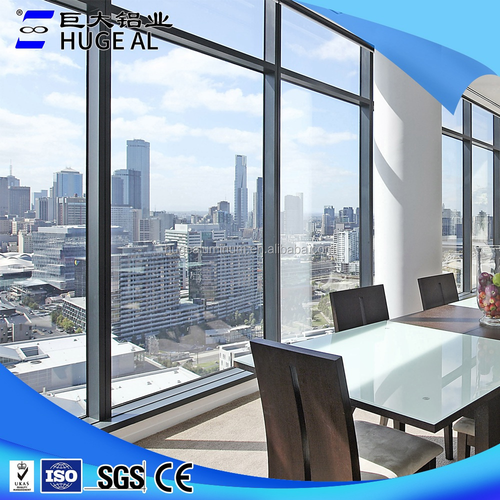 china factory aluminum bay window lowes balcony glass curtain window