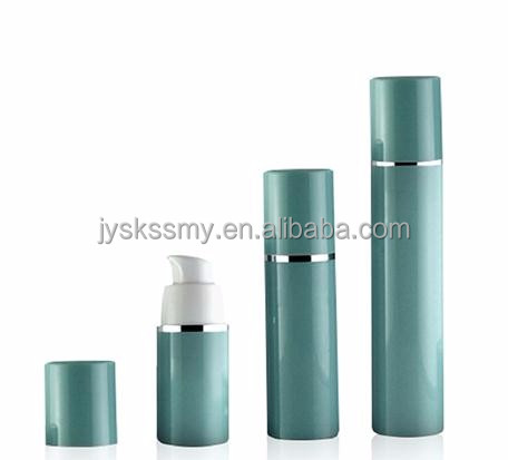 Luxury cosmetic packaging green plastic airless pump bottles