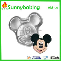 2016 Hot sale non-stick Mickey mouse aluminium alloy cake pan with anodic treatment, aluminum bakeware