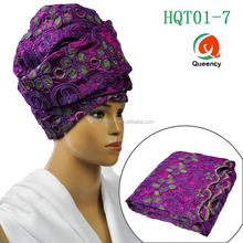 HQT01 Queency 2017 Arab Hijab African Wholesale Head Wraps Wedding Turban in India