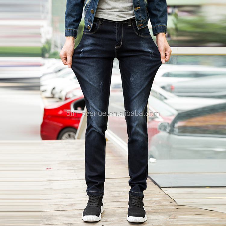 Competitive price custom made denim skinny men dark blue jeans pant suits