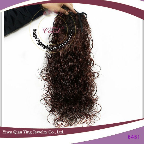 Popular cheap fake brown curly synthetic hair ponytails