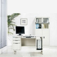Modern Metal Office Desk With CPU Shelf And Drawers