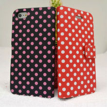 Fashionable polka dots flip flux leather case cover for iphone 5