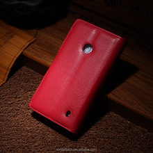 Low price china mobile phone Plain Texture Flip Leather Case For Nokia Lumia 520 With Many Colors
