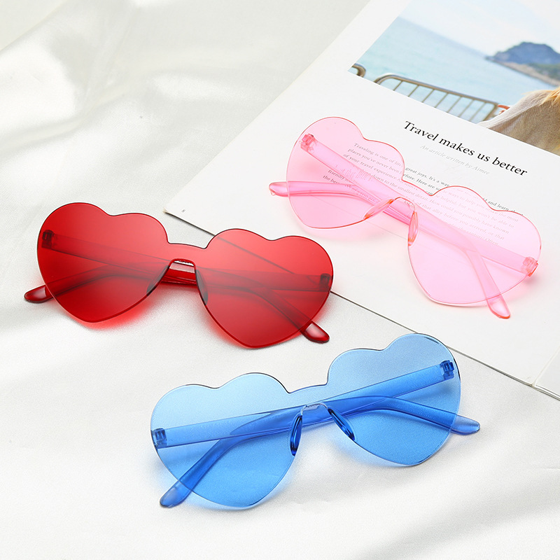 A101 Women Integrated heart shape jelly candy color outdoor beach Sun glasses Sunglasses