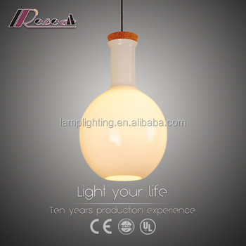 Modern simple design high quality bulb shape opal glass hanging pendent lamp