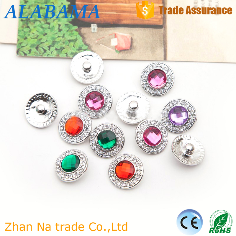 20MM colorful resin crystal rhinestone button metal round snap button