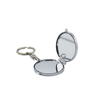 Cheap gift personalized handheld vanity makeup keychain mirror+round shape double sided pocket compact mirror