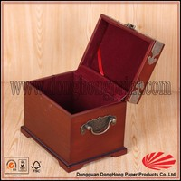 Luxury packaging velvet insert hand carved wood box