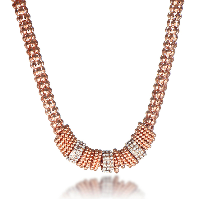 wholesale new model designs rose gold color bead charm chain necklace for women