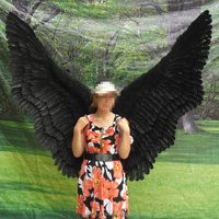 Halloween costume large angel wings in black
