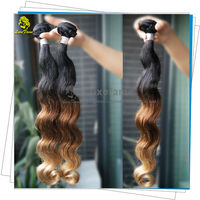 Good quality double drawn and wefts colored three tone hair weave 100% human hair weaving
