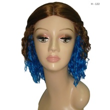 2017 New Medium length Curly Two tone Brown blue Cinderella movie supporting female character Tight curls Maid Wig