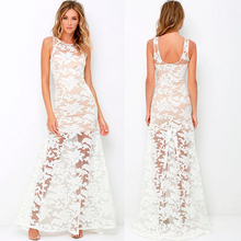 Women Sexy See Through Lace Embroidery White Transparent Long Banquet Night Party Dress
