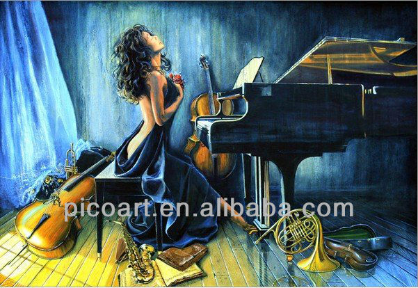 hand painted musical instrument oil painting