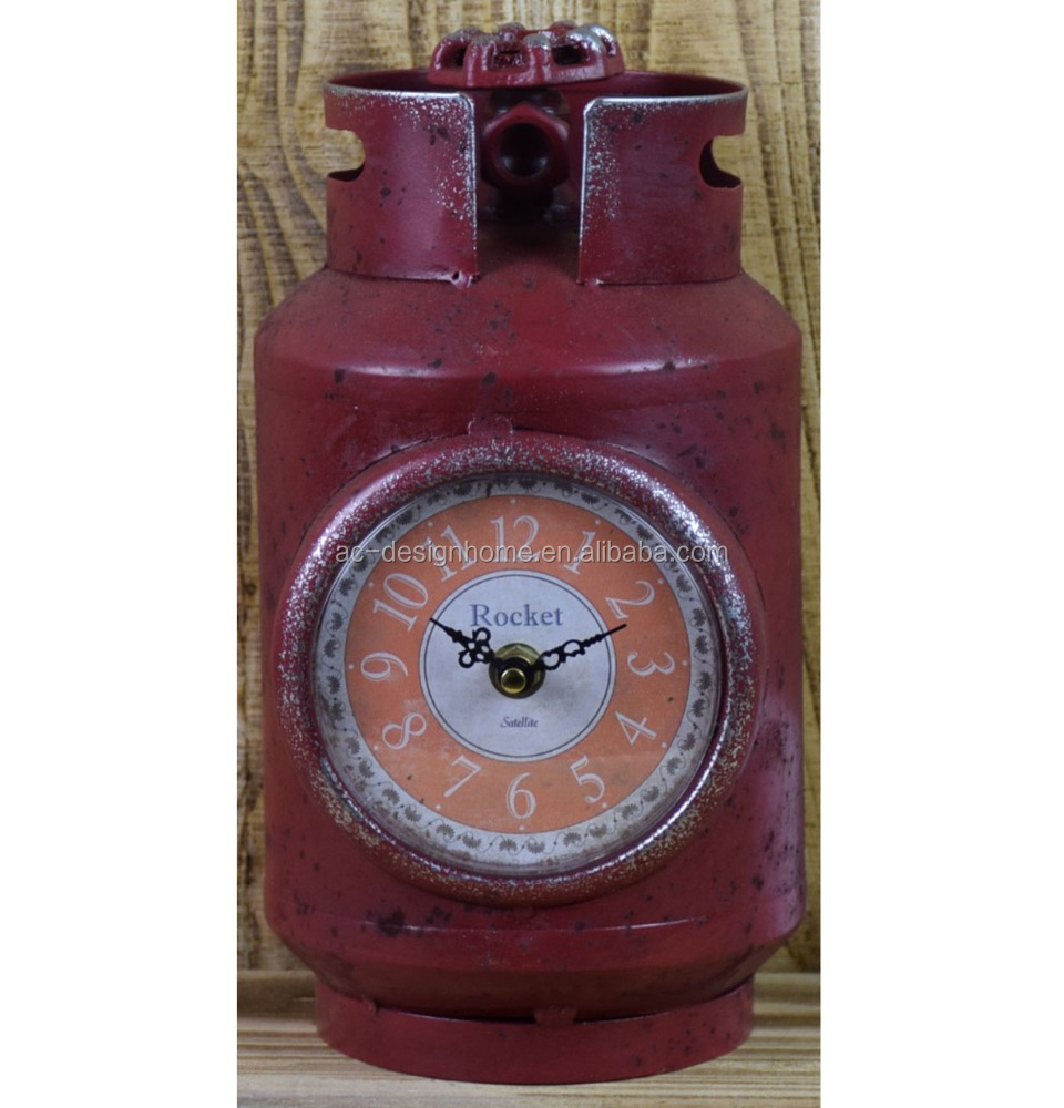 VINTAGE ANTIQUE DECORATIVE RED METAL OIL CANS SHAPE TABLE TOP CLOCK