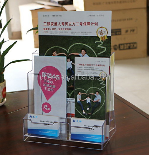 Promotion L-shape tabletop a3 acrylic slanted table card display/acrylic photo paper holder