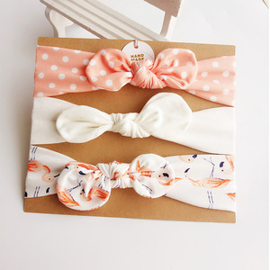 3Pcs/Set Cute Rabbit Ear Elastic Baby Headband dot Cotton Bowknot Hairband Headwear Flower Girls Hair Accessories