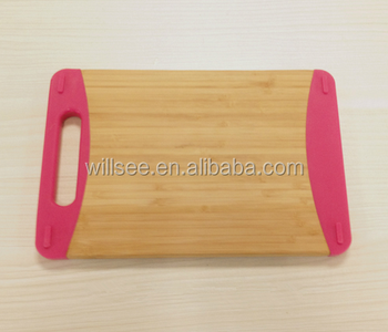 BK-061,Bamboo board bamboo cutting board with silicone haning hole