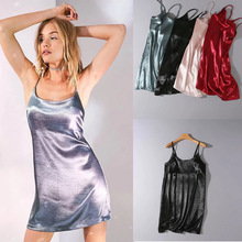 ZH1140D Casual Sexy Emulation Silk Satin Sleepwear With Fashion short sleeveless Nightgown