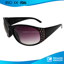 fashion crystal attached frame personal design aviator sunglasses for lady