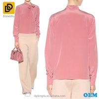 Adjutable tie bow long sleeve silk crepe de chine blouse