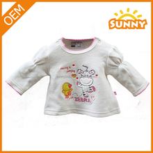 Wholesale Cotton Baby Girl's Long-sleeve Tee Wearing Cute Design