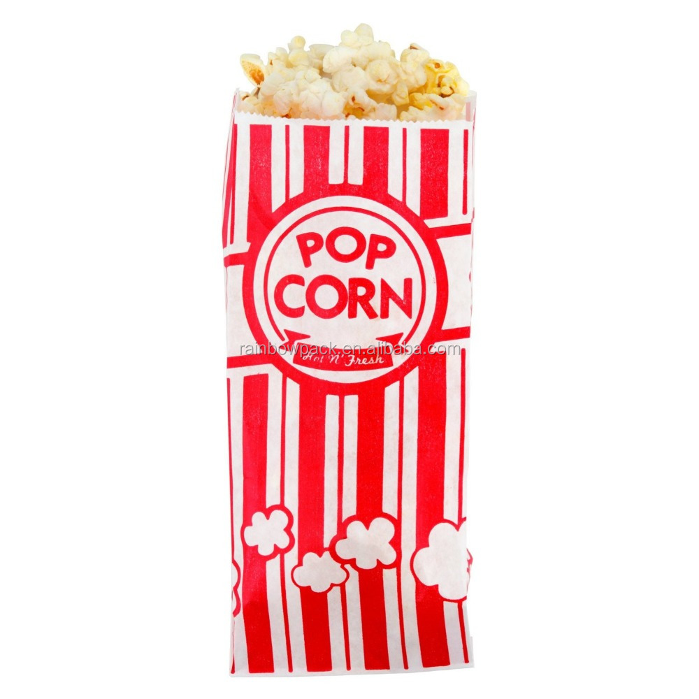Carnival King Paper Popcorn Bags 1 Ounce Pack of Red and White