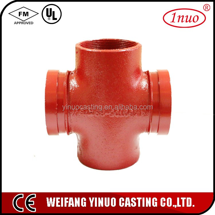 UL FM Malleable Iron Pipe Fittings four way tee pipe fitting