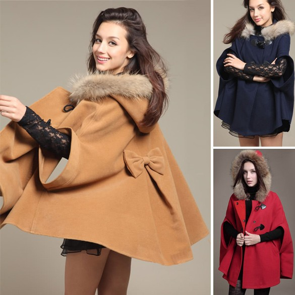 Princess Style Unique Poncho Button Fashion Women Hood Winter Coat Outerwear Loose Cape 3465#