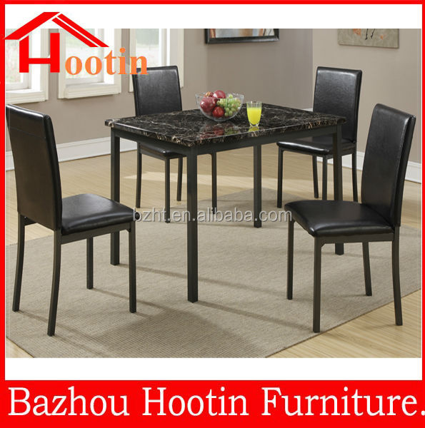 Marble paper top dining and leather dining chairs dining set