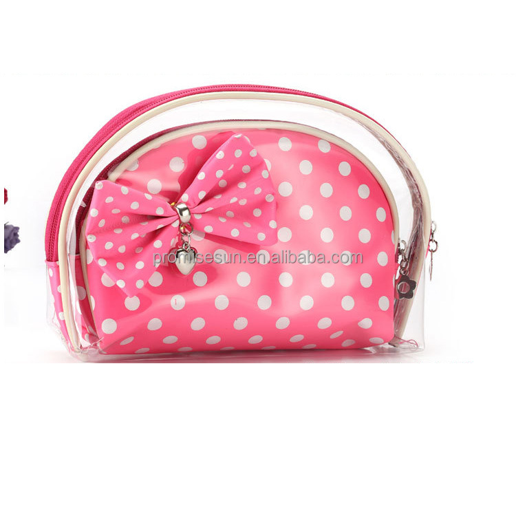 Manufacturer's direct selling customizable logo superior quality waterproof polka dot bowknot three-piece cosmetic bags & cases