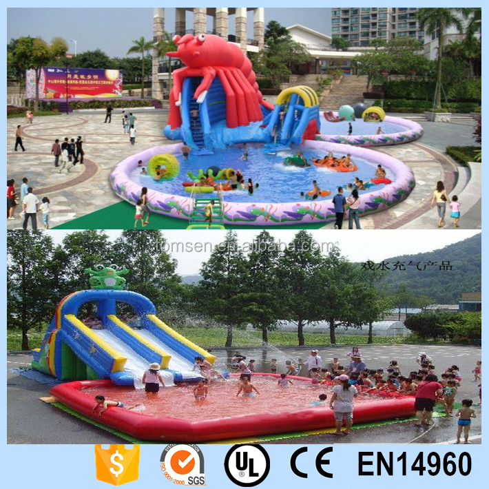 Customized inflatable pvc water slide with swimming pool for outdoor amusement