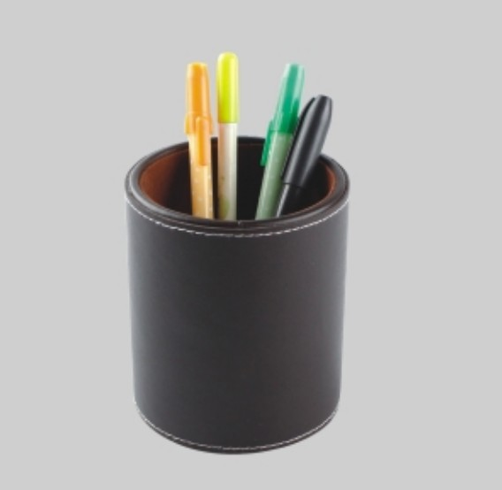 Lether eco-friendly handmade wooden pen jar round pencil pot
