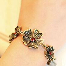 fashion camellia bracelet with red stone chain link bracelet