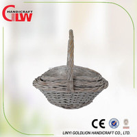 set of 3 wicker flower basket with water proof liner,new products, handmade basket