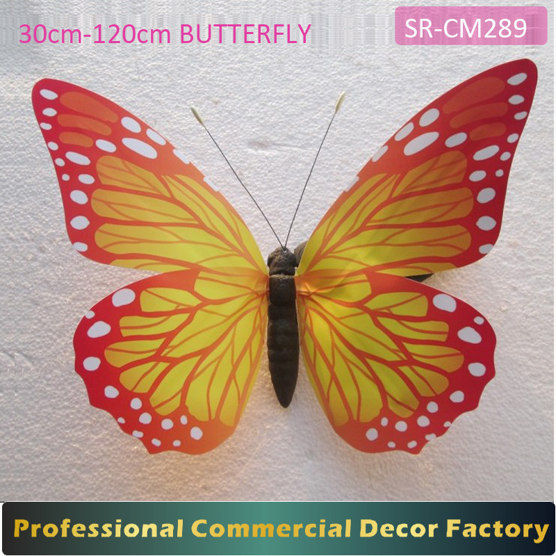 Custom commercial 60cm 80cm large hanging butterfly for shopping mall decoration